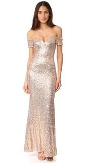 Вечернее платье с открытыми плечами и блестками Badgley Mischka Collection