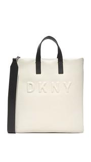 Объемная сумка с короткими ручками и логотипом Dkny