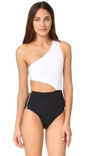 Сплошной купальник на одно плечо Kim с вырезом OYE Swimwear