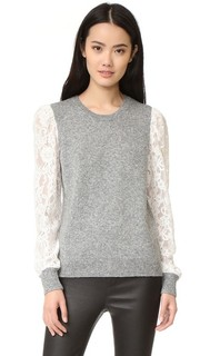 Lace Sleeve Pullover Rebecca Taylor