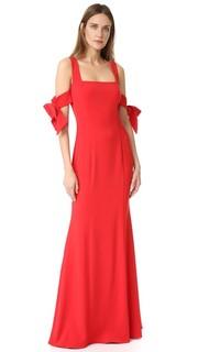 Платье с бантами на рукавах Badgley Mischka Collection