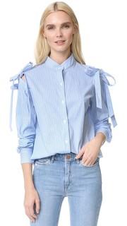 Рубашка с открытыми плечами и бантом Clu