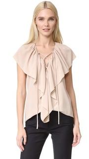 Блуза без рукавов с оборками Derek Lam