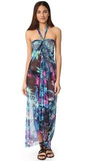 Длинное платье с цветочным принтом и завязками уздечкой Fuzzi