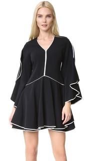 Классическое платье из крепа с оборчатыми рукавами Jonathan Simkhai