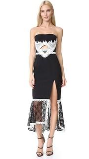 Кружевное платье в крупную клетку с вырезом и разрезом Jonathan Simkhai