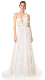 Вечернее платье с драпировкой из меланжевого тюля Marchesa