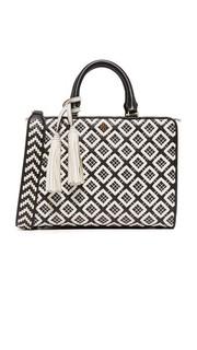 Маленькая стеганая сумка-портфель Robinson с плетеным узором Tory Burch