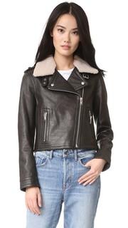 Байкерская куртка с воротником из короткой шерсти Doma