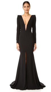 Вечернее платье Francoise из атласного крепа с V-образным вырезом Alex Perry