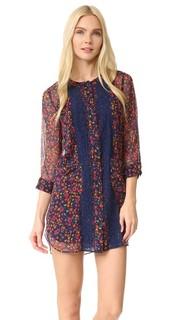 Платье-рубашка из жатого шифона с принтом в виде фиалок Anna Sui