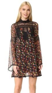 Платье из жатого шифона с фиолетовым принтом Anna Sui