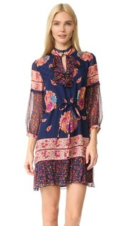 Шелковое платье с принтом Bouquet Scarf Anna Sui