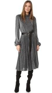 Плиссированное металлизированное платье Bcbgmaxazria