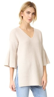 V Neck Tunic Sweater with Bell Sleeves Derek Lam 10 Crosby