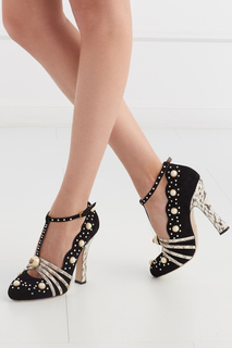 Кожаные туфли с кристаллами и жемчугом Gucci