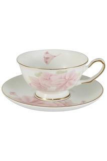 Чашка с блюдцем Розовые цветы EMERALD