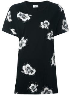 футболка с цветочным принтом   Saint Laurent