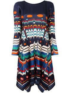 асимметричное платье с узором Pleats Please By Issey Miyake