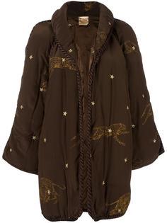 стеганое пальто с аппликацией леопарда Krizia Vintage