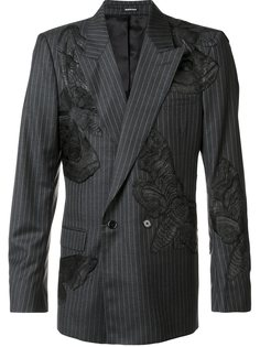 двубортный блейзер с вышивкой моли Alexander McQueen