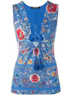 блузка с V-образным вырезом на шнуровке Roberto Cavalli