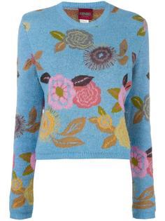 джемпер с цветочным принтом-интарсией Kenzo Vintage