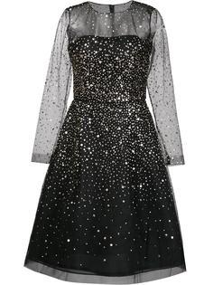 расклешенное платье с золотистыми пайетками Oscar de la Renta