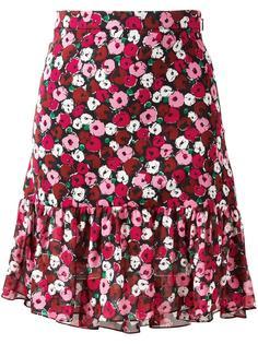 юбка с цветочным принтом Saint Laurent
