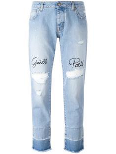 рваные джинсы с вышивкой Gaelle Bonheur