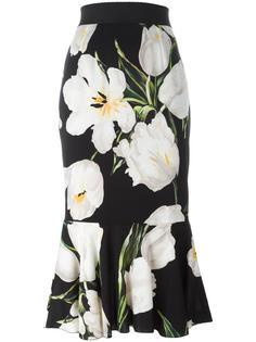 юбка с баской и принтом тюльпанов Dolce & Gabbana