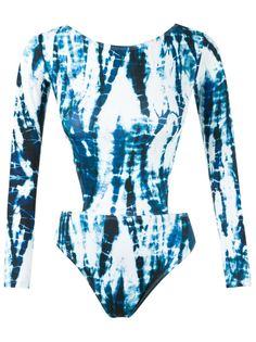 cut out long sleeve swimsuit Blue Man