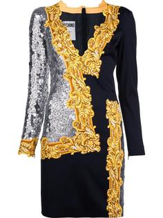 платье с зеркальными пайетками Moschino