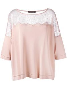 расклешенная блузка с прозрачной панелью Roberto Cavalli