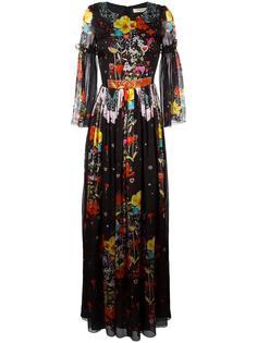 длинное платье с цветочным принтом Piccione.Piccione
