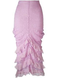 кружевная юбка с рюшами Christian Dior Vintage