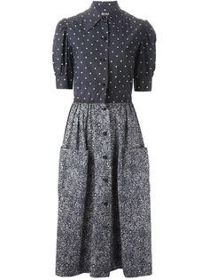 платье в горошек и цветочный принт  Christian Dior Vintage