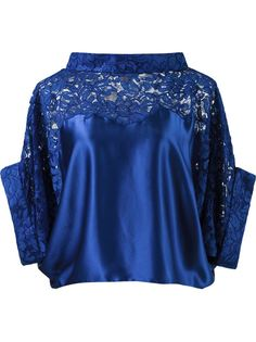 lace panel crop blouse Martha Medeiros