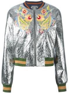 куртка-бомбер с цветочной аппликацией Aviù