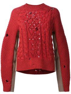 трикотажный свитер с дырявыми деталями Mm6 Maison Margiela