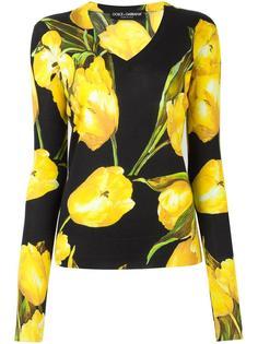 джемпер с рисунком из тюльпанов Dolce & Gabbana