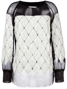 блузка с прозрачной вставкой и пайетками Aviù