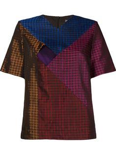 блузка с короткими рукавами и лоскутным узором Fernanda Yamamoto