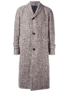 пальто миди с узором-елочкой Wooster + Lardini