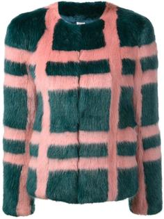 'Gustav' faux-fur plaid coat  Shrimps