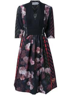 платье с пышной юбкой и цветочным рисунком Preen By Thornton Bregazzi