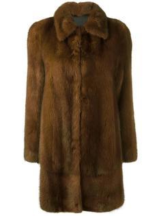 норковое пальто на пуговицах Blancha
