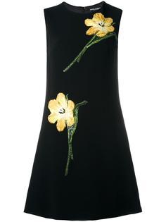 платье-шифт с вышивкой тюльпанов Dolce & Gabbana