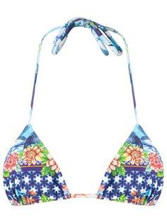 printed triangle bikini top Blue Man