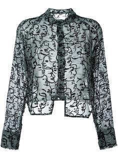 прозрачная рубашка с вышивкой лиц Eckhaus Latta